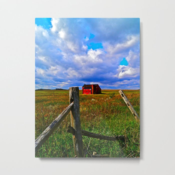 One Red Barn Metal Print
