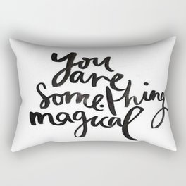 Black White Magic Brushstroke Watercolor Ink Quote Inspiration Motivational Do you Believe Rectangular Pillow