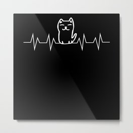 Cat EKG Heartbeat Pulse Gift Metal Print