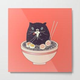 Bowl of ramen and black cat Metal Print