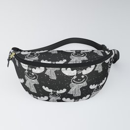 Funny Moose in Winter Snow on Black - Wild Animals - Mix & Match with Simplicity of Life Fanny Pack