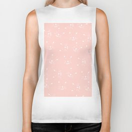 Cute girly hand drawn abstract cat face on pastel pink Biker Tank