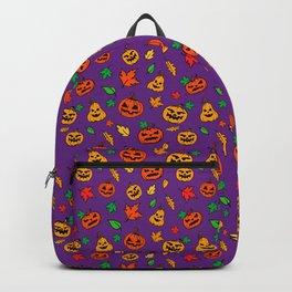 Purple Pumpkin Pattern Print Halloween Backpack