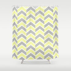 Sun and Clouds Chevron Shower Curtain