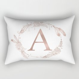 Letter A Rose Gold Pink Initial Monogram Rectangular Pillow