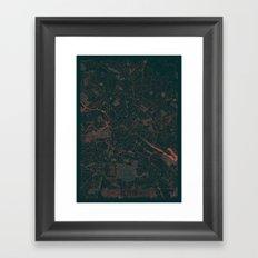 Berlin Map Red Framed Art Print