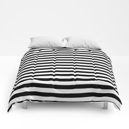 Narrow Horizontal Stripe: Black and White Comforters