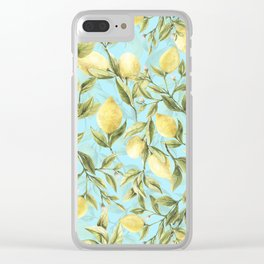 mediterranean summer lemon branches on turquoise Clear iPhone Case