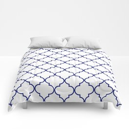 quatrefoil - navy Comforters