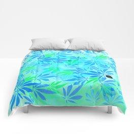 Blue Mint Cannabis Swirl Comforters