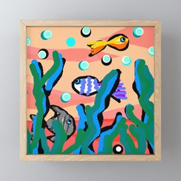Swimming Fishes - Coral Framed Mini Art Print