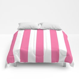 Cyclamen pink - solid color - white vertical lines pattern Comforters