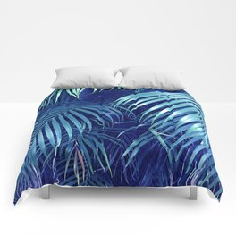 Midnight Blue Rain Forest Jungle Palm Leaves Comforters