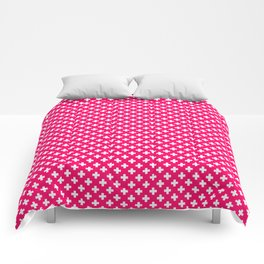 Small White Crosses on Hot Neon Pink Comforters