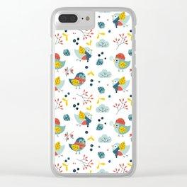 winter birds pattern Clear iPhone Case