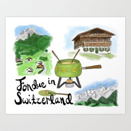 Fondue in Switzerland Art Print