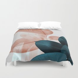Blush & Blue Leaves Duvet Cover