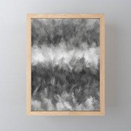 Gray White Feather Brush Abstract Framed Mini Art Print
