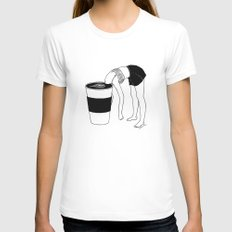 Coffee, First White MEDIUM Womens Fitted Tee