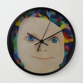 Baby with a rainbow hat Wall Clock