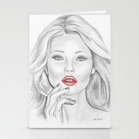 kate moss Stationery Cards featuring Kate Moss by Kim Jenkins