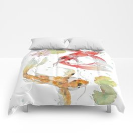 "Watercolor Painting of Picture ""Koi Pond"" Comforters"