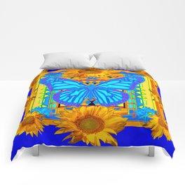 Cobalt Blue Sunflower Butterfly Art Comforters