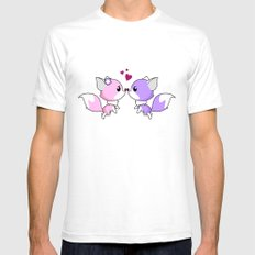 Cute kawaii foxes cartoon in pink and purple Mens Fitted Tee White SMALL