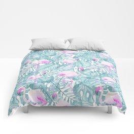 Neon pink green watercolor flamingo tropical leaves Comforters