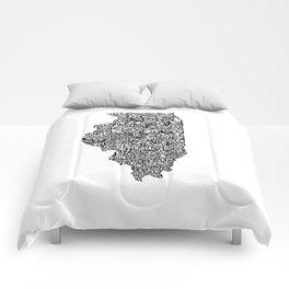 Typographic Illinois Comforters