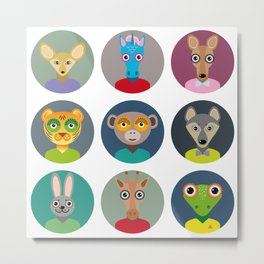 Set of animals faces circle icons set in Trendy Flat Style. zoo Metal Print