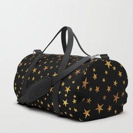 Mini Stars - Gold on Black Duffle Bag