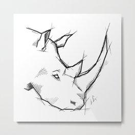 Rhino Handmade Drawing, Made in pencil and ink, Tattoo Sketch, Tattoo Flash, Sketch Metal Print