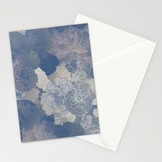 Airforce Blue Floral Hues  Stationery Cards