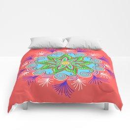 Vibrant Vermillion Mandala Comforters