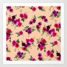 Ava Floral Peach Art Print