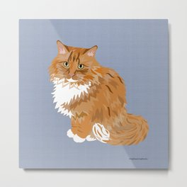 Ginger and White Fluffy Cat Metal Print