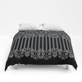 Black and Gray Floral Damask Pattern Comforters