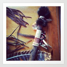Feathers, Leather and Beads Art Print