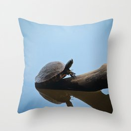 Turtle on The Lake (Color) Throw Pillow