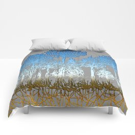 Blue and white forest Comforters