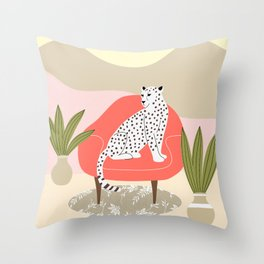 Leopard and armchair Throw Pillow