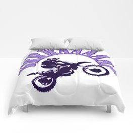 Brrraaaaap Blue Checkered Flag Moto Language Comforters