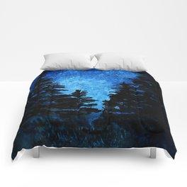 Blue Sky - Evergreen Trees Comforters