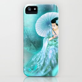 Geisha In Teal iPhone Case
