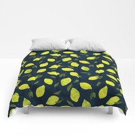 Lemons on deep blue Comforters