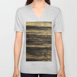 Elegant abstract black faux gold brushstrokes Unisex V-Neck