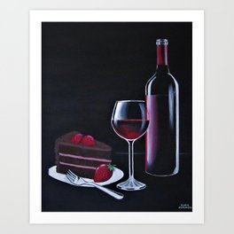 Red wine and Choclate cake Art Print