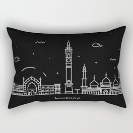 Lucknow Minimal Nightscape / Skyline Drawing Rectangular Pillow