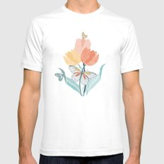 Butterflies and Tulips I SMALL Mens Fitted Tee White